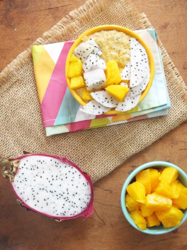 Mango-Papaya Oatmeal with Dragon Fruit #OatmealArtist #Vegan