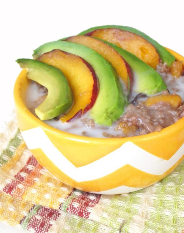 Peach-Cherry Oatmeal with Avocado #OatmealArtist #Vegan