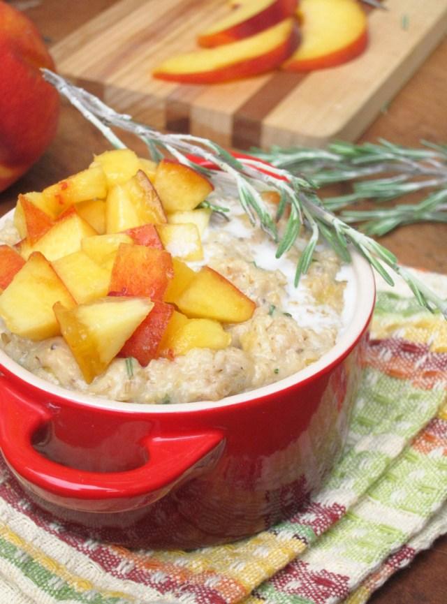 Peach Rosemary Oatmeal #OatmealArtist #Vegan