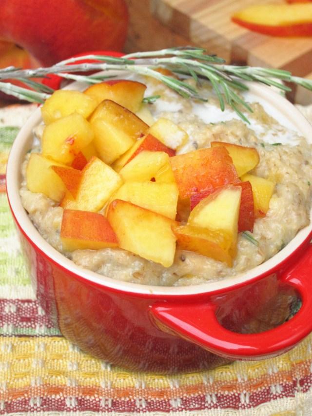 Peach Rosemary Oatmeal #Vegan #OatmealArtist