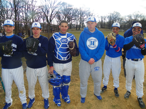 Photo by Jim Hague The Harrison Blue Tide baseball team is ready for action. From l. are pitchers Tom Dolaghan, Joshua Williams, catcher Emil Zorrilla, head coach Sean Dolaghan, Moises Roque and Sebastian Sanchez.