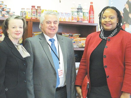Photo by Ron Leir Visitors at Family Food Distributors in Kearny, from l., are NJSBDC COO Deborah K. Smith, Kearny UEZ Director John Peneda and Rutgers- Newark SBDC Regional Director Tendai Ndoro.