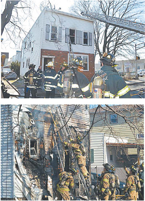 Photos by Andrew Taylor Scene of Sunday morning blaze on Schuyler Ave.