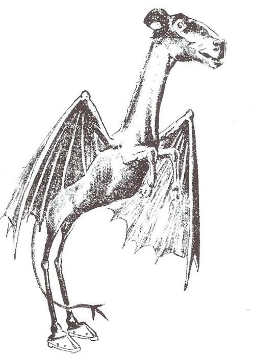 Classic image of Jersey Devil, from 1909 Philadelphia Evening Bulletin