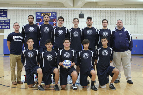 Photo courtesy of Ronald Shields The Harrison High School boys' volleyball team upset state-ranked St. Peter's Prep before falling to another state-ranked team Bayonne in the Hudson County Tournament finals last Friday night.