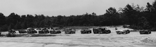 Photo courtesy National Archives Somewhere in France circa 1944: A convoy of American tanks, trucks, jeeps and artillery -- none of it real.