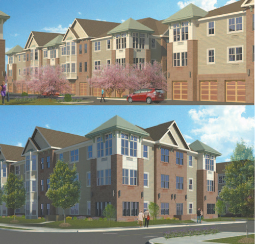 Renderings courtesy Russo Development Co. An artist's conception of Schuyler Crossing, from two different perspectives.