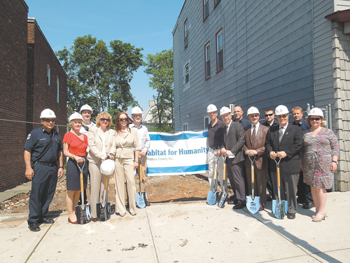 Photo courtesy Greg Strid Sponsors and supporters of Habit for Humanity's at ceremonial groundbreaking for its first Kearny project at 41 Kearny Ave.