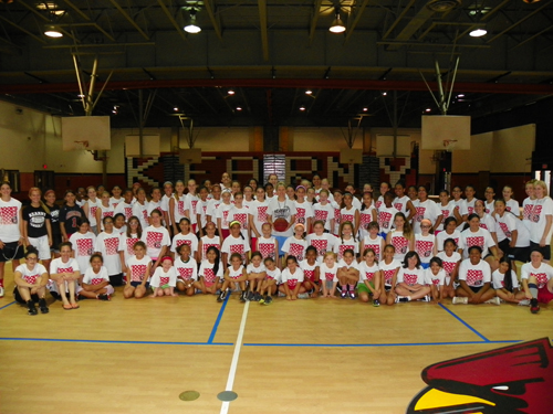 Photo by Jim Hague More than 90 young ladies participated in the annual Kearny Girls' Basketball Camp, under the guidance of Kearny High head coach Jody Hill (c.).