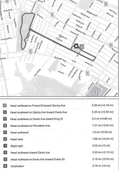 Map, graphic courtesy Kearny High School Map outlines route for upcoming 5K Run; chart provides more detail.