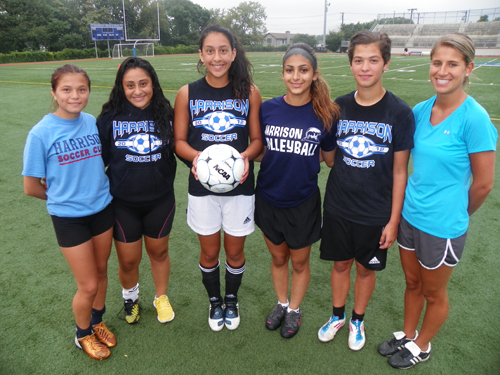 Photo by Jim Hague The Harrison girls' soccer team looks to be improved this season. From l. are Chelsea Uribe, Katherin Merino, Alexia Garrison, Cindy Passos, Lucy Pinto and head coach Annemarie Sacco.