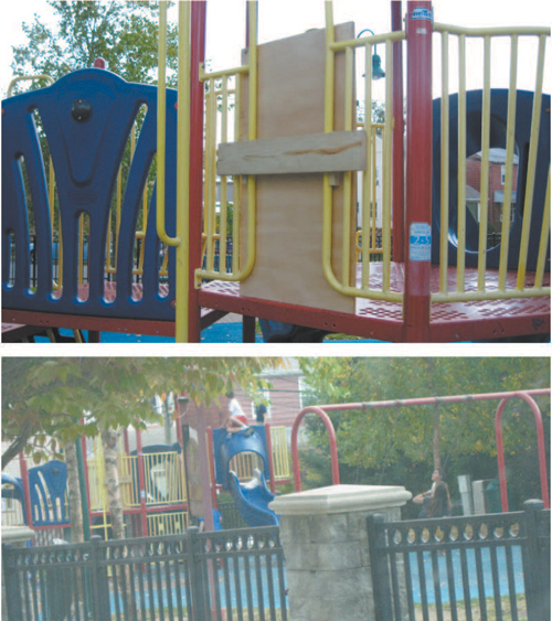 Photos courtesy Kearny DPW TOP: Plywood cover missing clover leaf support. BOTTOM: Older boys climbing on play structure captured by town's public works camera.