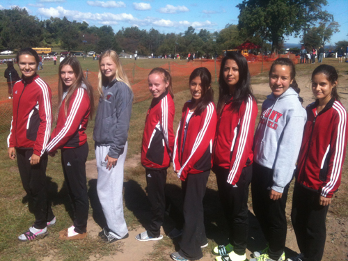 Photo by Jim Hague The Kearny girls' cross country team had a fine showing at the Passaic County Coaches Invitational meet at Garret Mountain in Woodland Park Saturday. From l. are Anna Czykier, Julia Coppola, Mariah Davila, Aislinn Sroczynski, Erika Alzamora, Noemi Campos, Melissa Quiros and Maria Lozano.