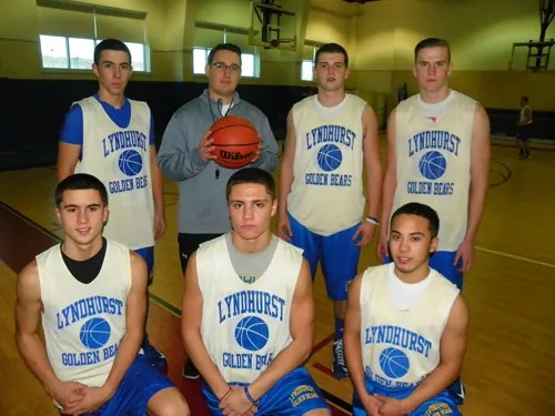 Photo by Jim Hague The Lyndhurst Golden Bears welcome a new head boys' basketball coach in Paul Palek. Front row, from left, are Nunzio Gangi, Jake Estevez and Sergio Turelli. Back row, from l., are Patrick Dennehy, head coach Palek, Jonathan Hoff and Kyle Krzastek.