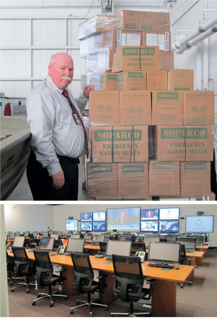 Photos by Ron Leir TOP: County OEM Coordinator James Woods checks out emergency food supplies. BOTTOM: The Ops Center.