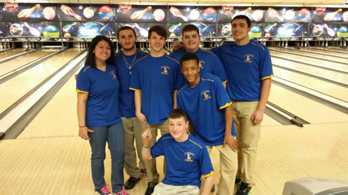 Photo courtesy of Brianna Balkin The Lyndhurst bowling team celebrates after breaking the Bergen County record for pins in a game en route to winning the first county title for the school in more than 40 years. In back row, from l, are Emily Young, Michael Hayes, Mike Dul, Massimo Sarracino and Jordan Lopez. In front are Daijon Smith and Ryan Donohue.