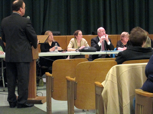 Photo by Ron Leir Frank Ferraro made his case for returning to his job as superintendent