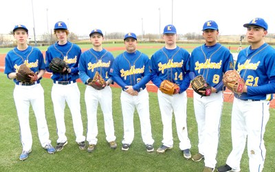 Photo by Jim Hague The Lyndhurst baseball team will look to a strong pitching staff to help coach Patrick Auteri (c.) in his first season as head coach. From l. are Nolan Kelly, John Leonard, Nick Carnevale, head coach Auteri, Andrew Fitzgerald, Christian Camilo and Jordan Lopez.