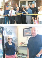 Photos by Ron Leir TOP: Mayor James Fife prepares to cut ribbon at grand opening. BOTTOM: Owner Fred Confessore, his mom Gloria and the little range that could.