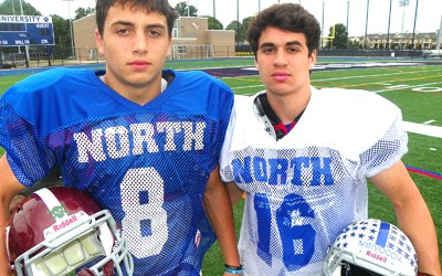 Photos by Jim Hague From l., childhood friends Frank Malanga of Nutley and Nutley native Vincent Nisivoccia of Seton Hall Prep were reunited as teammates for the North squad in the 37th annual Phil Simms New Jersey North-South All-Star Football Classic.