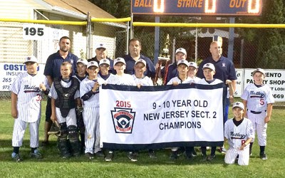 Photo courtesy of Joe DeLanzo, Sr. The Nutley American Little League 9-and-10-year-old All-Stars display the Section 2 championship banner they earned last Friday night with a 14-9 win over Elmora of Elizabeth, earning a berth in the state tournament this week in Milltown