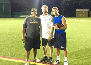 Photo courtesy Rich Tuero Lyndhurst's Danny Kesack (r.) spent the summer getting quarterback lessons from New York Giants Super Bowl MVP Phil Simms (c.). Lyndhurst head football coach Rich Tuero (l.) also took part in the training sessions.