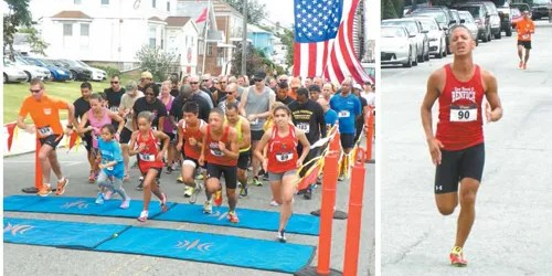 Photos by Jim Hague LEFT: And they're off, as the SSG Jorge Oliveira Memorial 5K Race kicks off in front of the VFW Post 132 on Belgrove Drive Saturday morning. RIGHT: Former Kearny High runner Johnny Vega, now a resident of Lyndhurst, kicks away from runnerup Paul Sorace in the final strides to win the Oliveira Memorial Run in Kearny Saturday.