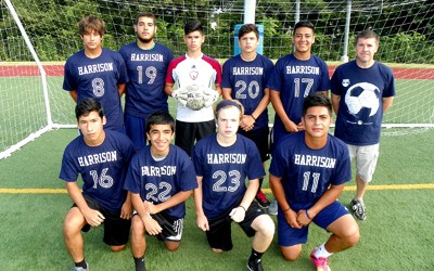 Photo courtesy Rich Tuero The Harrison soccer team will once again contend for state honors despite losing 16 players to graduation from last year's NJSIAA Group I state title winners. Front row, from l.,, are J.P. Lara, Harman Briceno, Paul Eckert and Nay Moreno. Back row, from l., are Joshua Seebeck, Juan Restrepo, Christopher Crespo, Diego Porres, Edgar Orellano and head coach Mike Rusek.