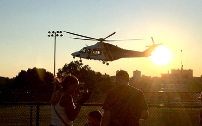 Photo courtesy KPD State Police helicopter visited Kearny for National Night Out Against Crime.