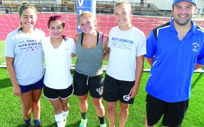 Photo by Jim Hague The North Arlington girls' soccer team has posted a solid 8-2 record thus far this season. From l. are Carlie Mullins, Nicole Guerra, Kaitlyn Cappuccino, Callie Evanchick and head coach Dan Farinola.
