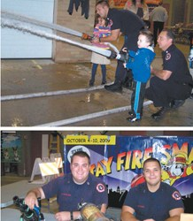 Photos courtesy Bellville Fire Department Residents mingled with Belleville fi refi ghters at an Open House where kids got to operate hoses and (top) and both young and old learned about fi refi ghting tools from Firefighters Chase Hamilton (l.) and Manny Antonio.