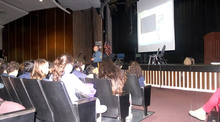 Photos courtesy Michael Landy N.J. State Police Sgt. Bill Fearon, a former Kearny resident, shares his 9/11 experience with Washington School students.