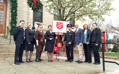 Photo courtesy Kearny Mayor's Office At kettle drive kickoff, from l., are: Kearny Corps soldier Michael Hislop Jr., Corps secretary Evelyn Hopler, Corps advisory board chairwoman Ellie Nakrosis, Corps Commanding Offi cers Lts. Seoyoung and Hwang Lim, Mayor Alberto Santos and Town Council members Susan McCurrie and Marytrine DeCastro.