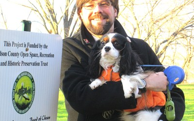 Photo by Ron Leir Consulting engineer Joseph Vuich and Bailey at the dog park groundbreaking ceremony last week.