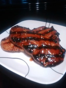 BBQ pork chop with grill marks