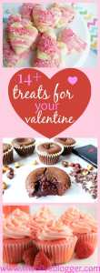 A sweet round-up with over 14 different Valentines Treats for your sweetie! Features everything from Chocolate Lava Cakes to Champagne Cupcakes and everything in between!