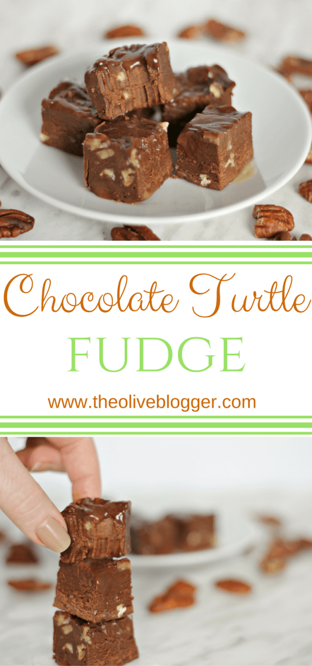 This Chocolate Turtle Fudge is so easy to make and is full of creamy caramel and chunks of pecans. A perfect make-ahead treat for your Holiday guests! #ChristmasFudge #FudgeRecipe #ChocolateFudge #TurtleFudge