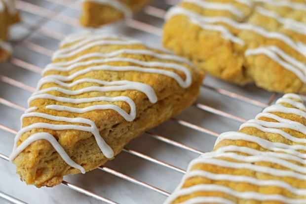 Pumpkin Scone Recipe with Spiced Cream Cheese Frosting!
