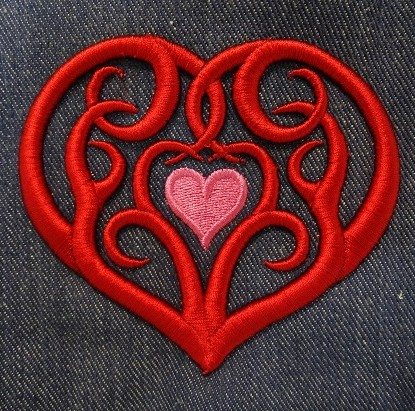 Tribal Heart Embroidery Design for 3D Foam by Erich Campbell