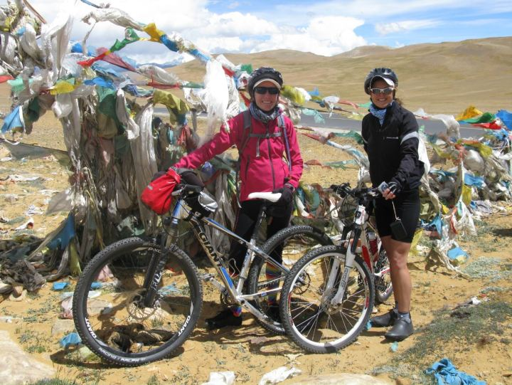 At the top of the pass - not the most impressive pass we got to ride!