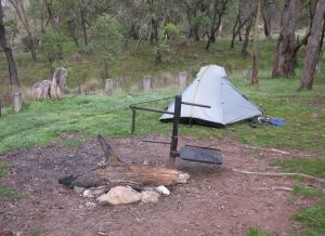 "Our camp spot and ""The Whale"" in the fire pit"