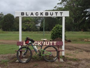 My bike and I arrived in Blackbutt first.  If you can't be in the photo, then having your bike in the photo is the next best thing