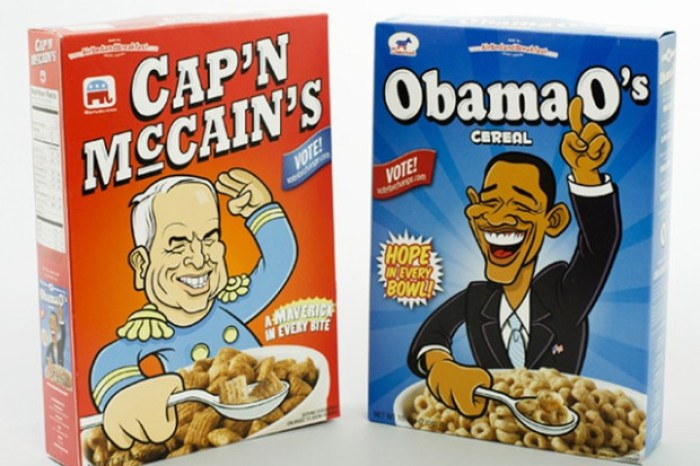 Joe Gebbia's Novelty Cereal from the 2008 election
