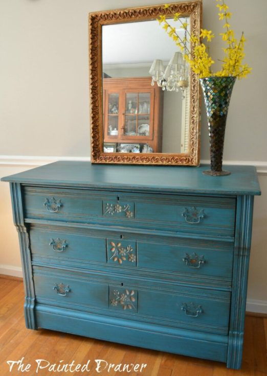 Antique Gold Flower Dresser www.thepainteddrawer.com