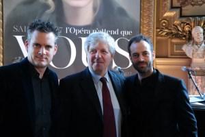 Benjamin Millepied avec le directeur et le directeur musical