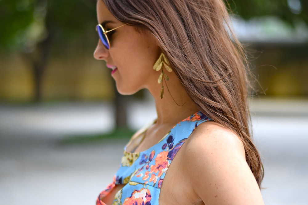 gold leaf statement earring