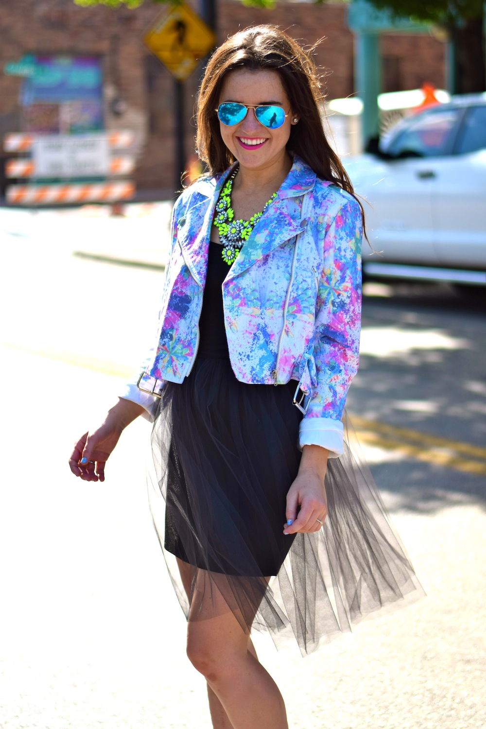 neon jacket with necklace