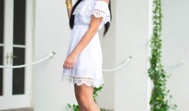 white crochet trim dress