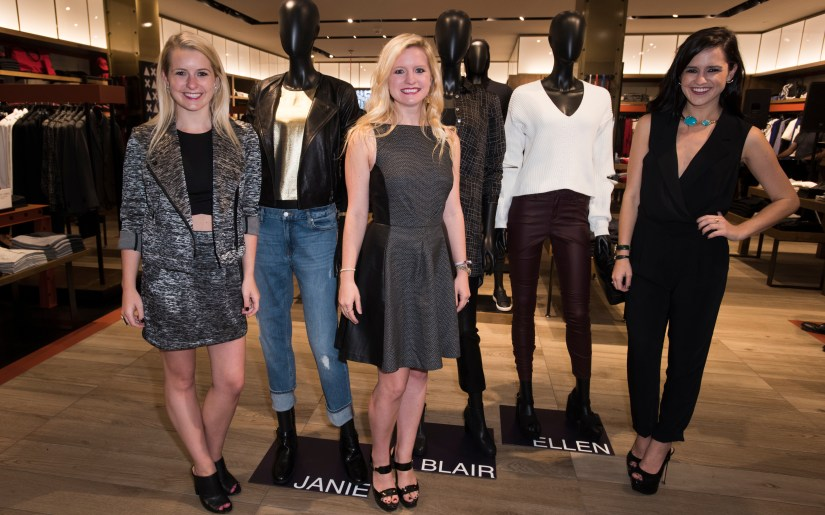 Janie Flowers, Blair Flowers Butler and Ellen Flowers pose for a photo at the Armani Exchange in Dallas, Texas on September 24, 2015.
