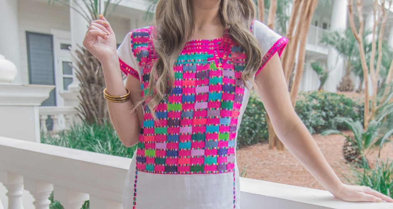 Pink Guatemala Embroidered Dress